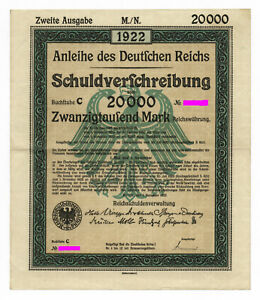 German Government – uncancelled 20.000 Mark Bond 1922, complete with coupons