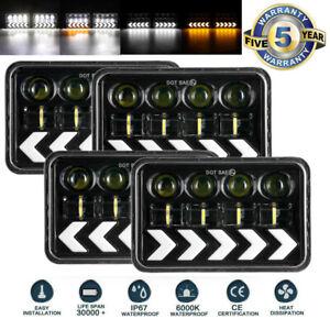 "4PCS 4x6"" LED Headlights Hi/Lo DRL Beam Turning Headlamps For Chevrolet Camaro"