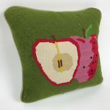 "Apple FRUIT Strawberry GREEN Needlepoint WOOL Corduroy THROW Pillow 11"" Square"