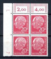 Bund 4er Block Eckrand ol MiNr. 185 y DZ 7 postfrisch MNH (F245