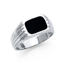 Men 14k White Real Gold Square Onyx Fashion Wedding Engagement Bridal Ring Band