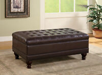 Coaster Tufted Storage Ottoman With Turned Legs Brown Leatherette 501041
