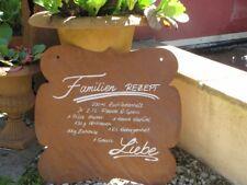Edelrost Gartenschild Familienrezept Spruchschild Wandtafel Metallschild Rost