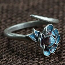 925 Sterling Silver Blue Enamel Lotus Flower Adjustable Wrap Ring Statement