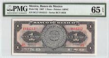New ListingMexico 1967 P-59j Pmg Gem Unc 65 Epq 1 Peso
