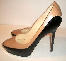 Jimmy Choo Black Patent & Tan-Leather High-Heel Platform-Pumps 7M - $795
