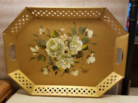 "Vintage Tole Hand Painted Metal Tray Octagon Gold Floral Design 20"" x 15"""