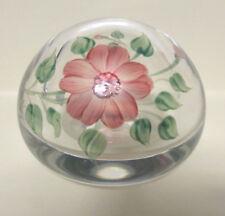 Eva Englund Painted Florals Crystal Paperweight Intact Label Sweden Vtg Orrefors