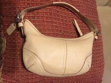 Coach Hampton  Beige Leather Small Hobo Handbag