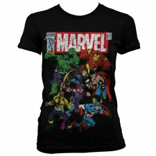 Womens Marvel Comics Team-Up Distressed Fitted T-Shirt - Ladies Retro Avengers