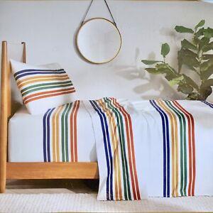 Pendleton Twin 3-Piece Flannel Sheet Set Pine Island Multi Stripes 100% Cotton