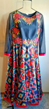Bohemian Gown Sz M Beaded Embroidered Black Floral Long Formal Wedding Event