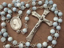 Catholic Rosary 5mm soft light blue glass beads lovely Crucifix & center medal