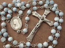 Catholic Rosary 5mm soft light blue glass beads lovely Crucifix & center medal