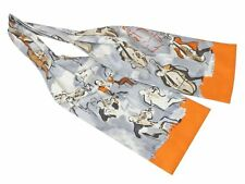 Authentic Hermes Silk Necktie Ascot Tie for Men Concerto Gray Orange A1752
