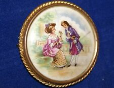Vintage LIMOGES France Hand-Painted Portrait Round Porcelain Pin Brooch