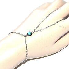 Chaîne de main bracelet bague acier inoxydable cristal bleu bijou A2