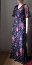 Red Navy Blue Floral Dress Maxi Gown Chiffon Butterfly V-Neck 30/70s size 10 38