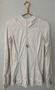 Lululemon 6 White Hooded Pullover Skirted Ruffle Thumb Holes Lightweight Cinch