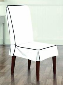 Monaco One Piece dining Chair Slipcover Midnight White/navy Sure Fit