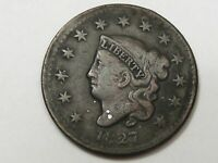 Better-Date/Grade 1827 US Coronet Head Large Cent Coin (Off-Center).  #23