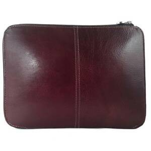 Cow Leather Tablet Case - Zipper Closure - Brown