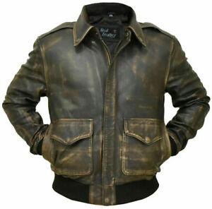 Aviator A-2 Real Leather Black Distressed Finish Bomber Flight Jacket Vintage