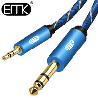 "EMK 3.5mm 1/8"" to 6.35mm 1/4"" AUX Audio Cable Nylon Braided Speaker ipod Cable"