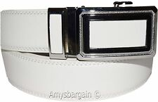 Men's White Leather Dress Belt, (1XL) Auto-Lock belt Men's white Quick lock belt