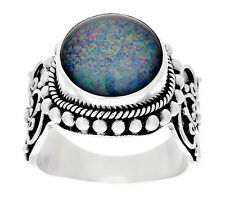 Suarti Artisan Sterling Silver Australian Opal Triplet Beaded Ring Size 6 QVC