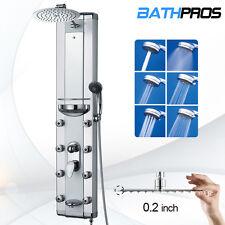 "51"" Aluminum Glass Waterfall Shower Tower Panel Massage Jets Tub Spout Head Spa"