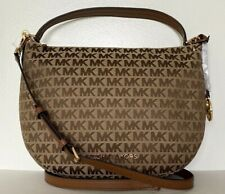New Michael Kors Bedford Medium Shoulder Bag Jacquard Beige / Ebony/ Luggage