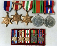 WWII BRITISH MEDAL GROUP FULL SIZE 5 MEDAL BAR & MATCHING MINIATURE'S W OAK LEAF