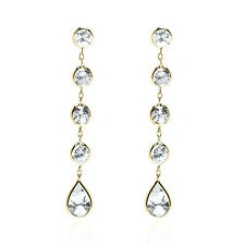 14K Yellow Gold Earrings With Round & Pear Shaped Faceted Cubic Zirconia