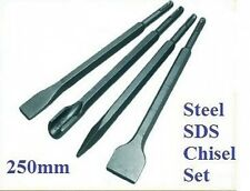 4 PIECE SDS CHISEL SET FLAT POINT GROOVE GOUGE DRILL HAMMER DRILL 250MM -T3