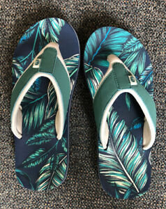 Ladies Animal Swish Size UK5 Flip Flops Blue Leaf Pattern Logo (Out Grown)
