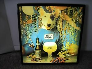 """RARE 1987 SPUDS MACKENZIE DEBUT THE ORIGINAL PARTY ANIMAL LIGHTED SIGN 18"""" X 18"""""""