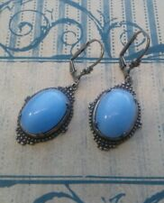 Blue 18x13 Moonstone Earrings, Leverback Victorian Vintage Style Handmade Lt