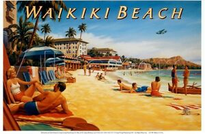 "Waikiki Beach vintage travel fine art print Kerne Erickson huge 39 x 26 """