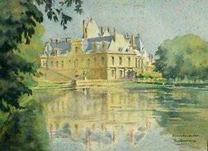 Tableau ancien aquarelle château de Fontainebleau signé XIXème