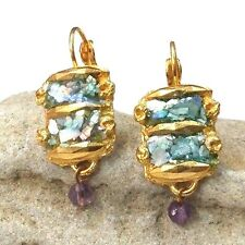 Roman Glass Ancient Fragment 200 B.C Bluish Patina Earrings Gold P. Holy Land