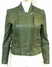 Loreal Ladies women Green Quilted Designer Fitted Double Breasted Leather Jacket