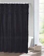 Modern Black Faux Silk Curtain with Laser-Cut Circles