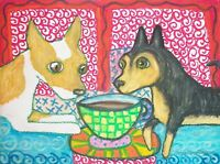 CHIHUAHUA Drinking Coffee Outsider Dog Pop Folk Vintage Art 8 x 10 Signed Print