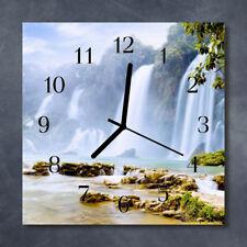 Glass Wall Clock Kitchen Clocks 30x30 cm silent Waterfall Multi-Coloured
