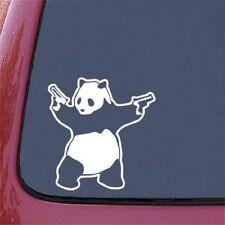 "Shooting Panda - Car Vinyl Decal Sticker car truck SUV 6"" White"
