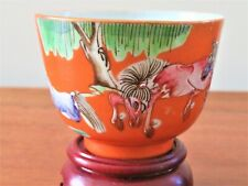 ANTIQUE CHINESE CORAL ORANGE RED GROUND PORCELAIN CUP BOWL TONGZHI PERIOD MARK
