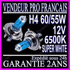 Ampoule Lampe Halogene Feu Phare XENON GAZ SUPER WHITE H4 55W 6500K 12V BLANCHE