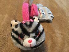 New TY Beanie Boos Kiki cat Faux-Fur Plush 3D Hat & Gloves set gray pink