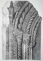ITALY Palermo Cathedral Detail Fragment of Portal  - SUPERB 1843 Antique Print